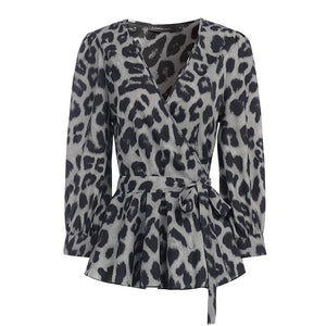 Open image in slideshow, Stylish Celmia Deep V-Neck Leopard Print Belted Tunic Blouse