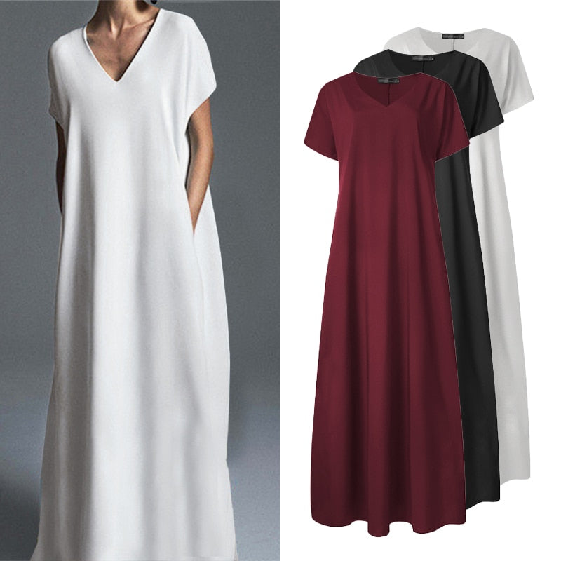 Casual Vintage V Neck Long Maxi Dress
