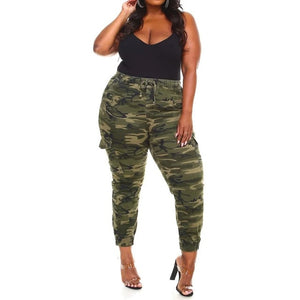Open image in slideshow, Camouflage Printed Cargo Drawstring Pants