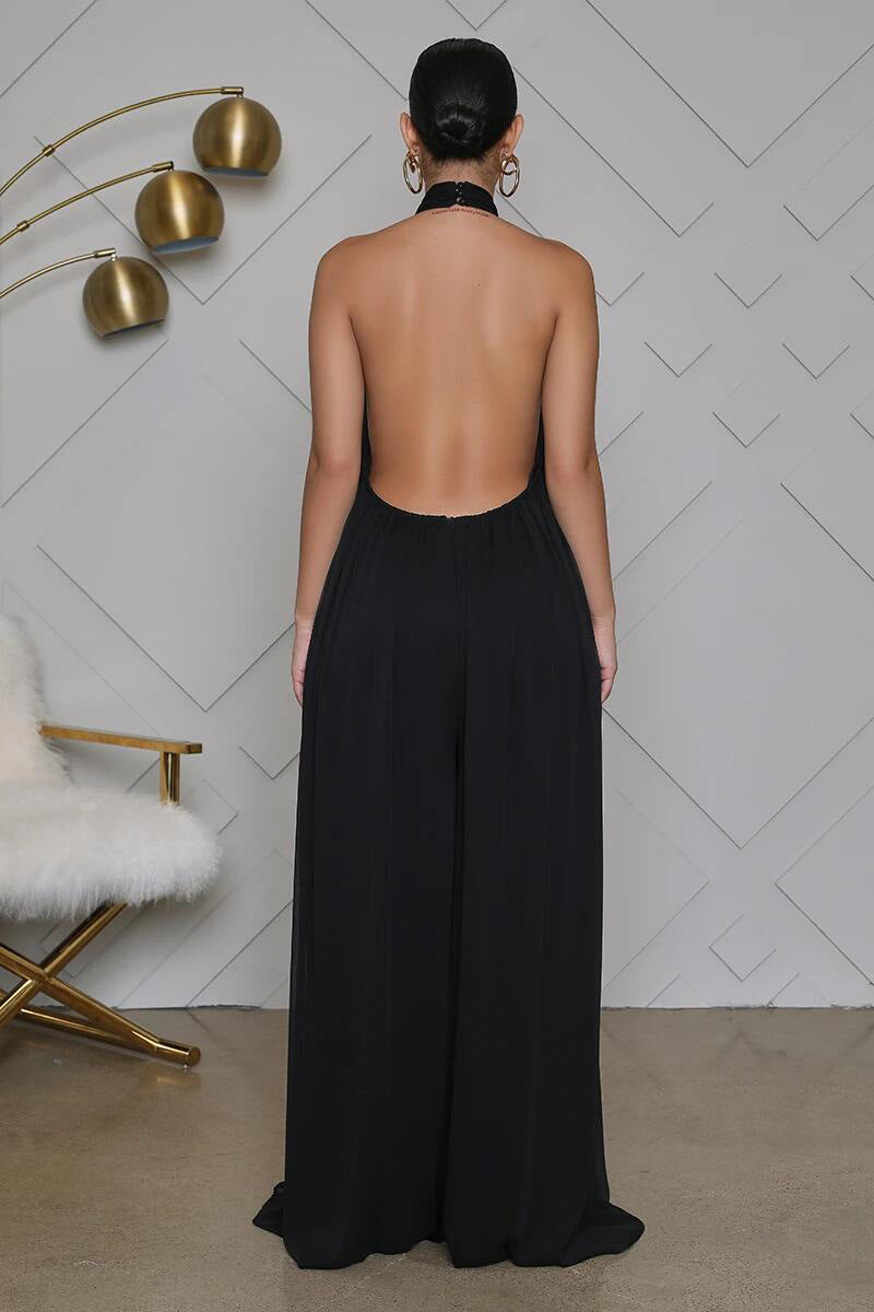 Sleeveless Open Back T-Neck Jumpsuit