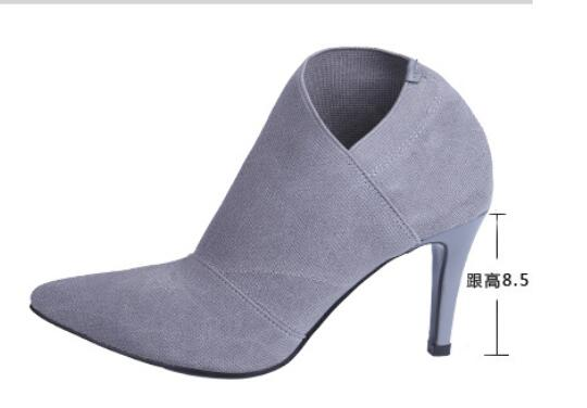Suede Cloth High-Heeled Boots