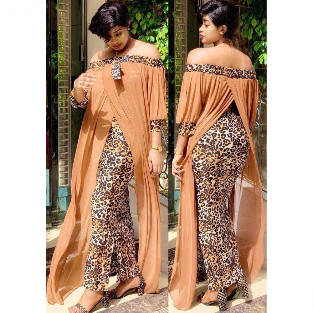 Long Maxi Leopard Off The Shoulder Backless Evening Dress