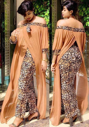 Open image in slideshow, Long Maxi Leopard Off The Shoulder Backless Evening Dress