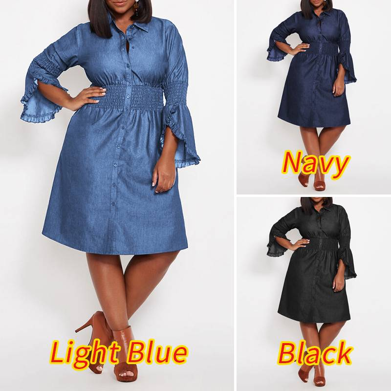 Denim Butterfly Sleeve Elastic Waist Knee Length Dress