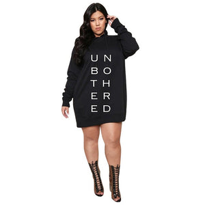 Open image in slideshow, Letter Print Casual Loose Mini Hoodie Dress