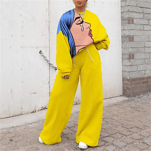 Open image in slideshow, Abstract Cartoon Print Long Sleeve Loose Top And Wide Leg Pants