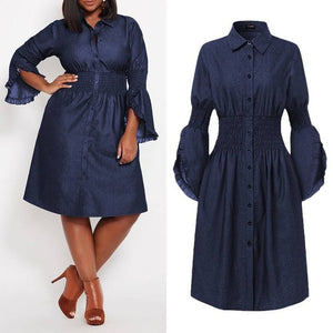 Open image in slideshow, Denim Butterfly Sleeve Elastic Waist Knee Length Dress