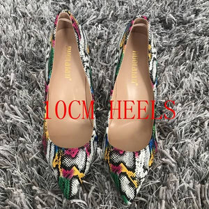 Open image in slideshow, Women Snake Pattern Mixed Color Sexy High Heel Pumps
