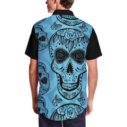 Blue Sugar Skull Short Sleeve Shirt with Lapel Collar