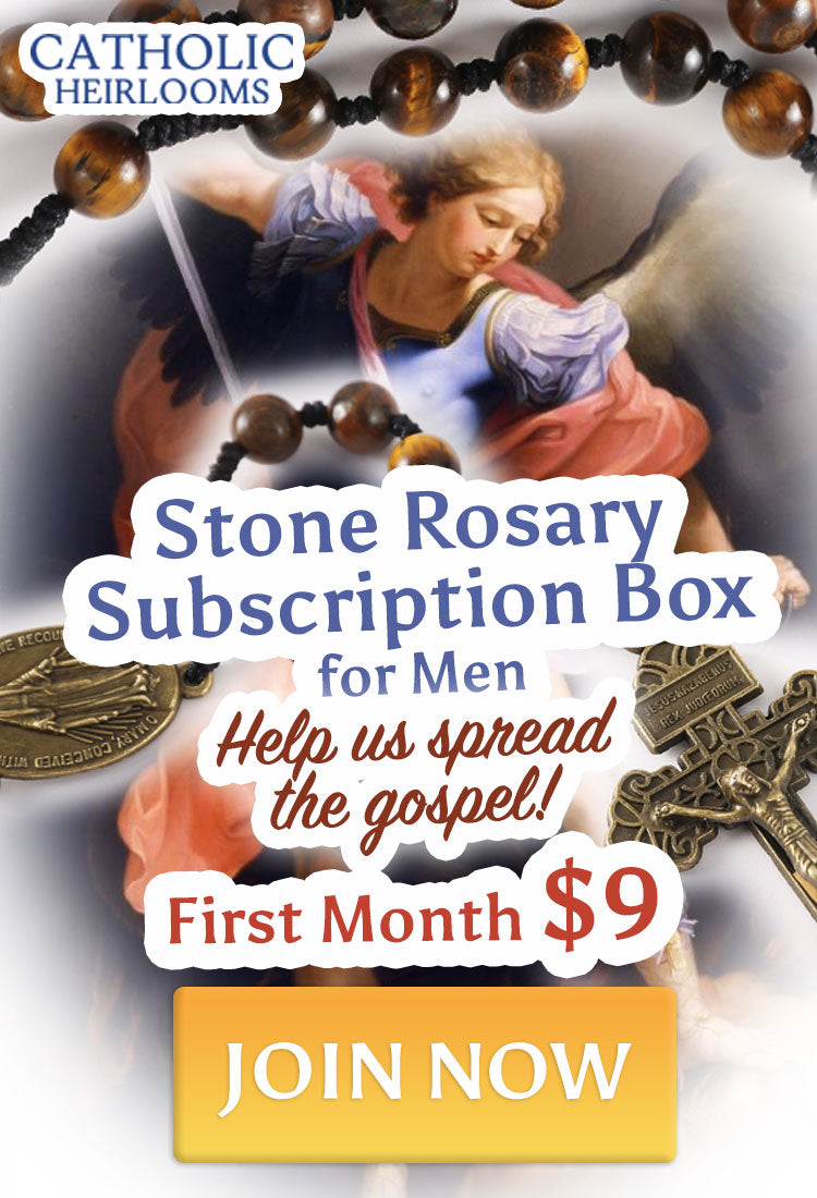Join Catholic Heirlooms Stone Rosary Subscription Box for Men