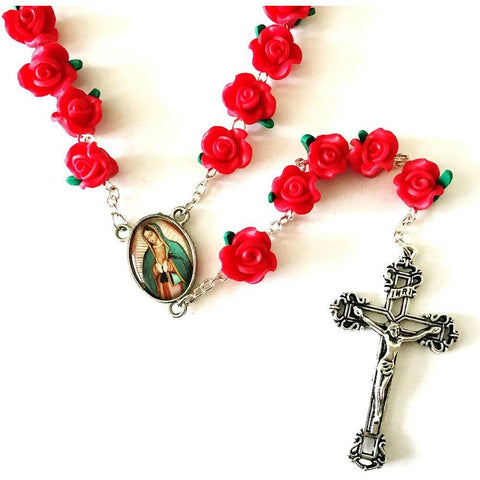 Red Rose Garden Rosary with Free Rosary Pouch