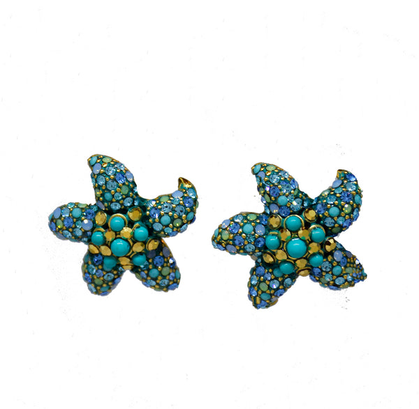 102  Aqua blue pave starfish button clip earring