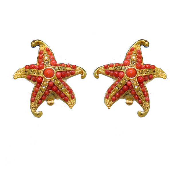 103 Gold and coral starfish clip earring