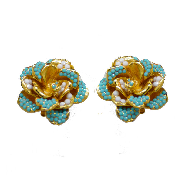 104  Gold rose with turquoise and pave stones clip earring