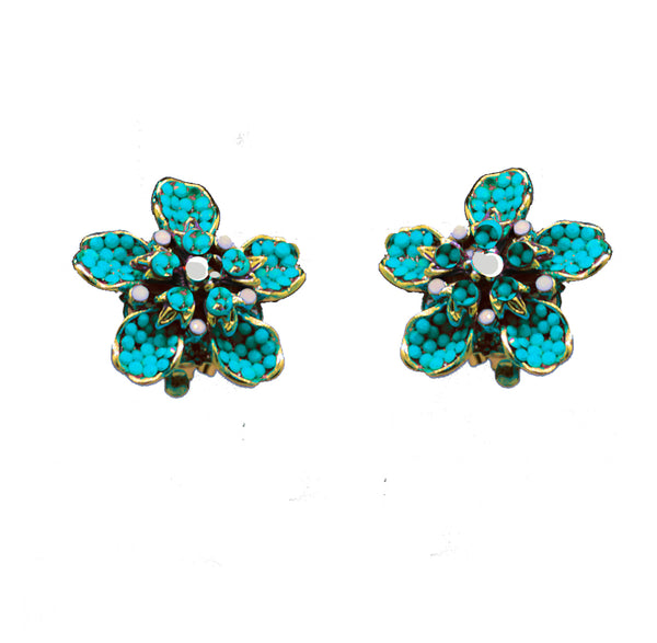 105 Gold pave flower clip earring with turquoise and white