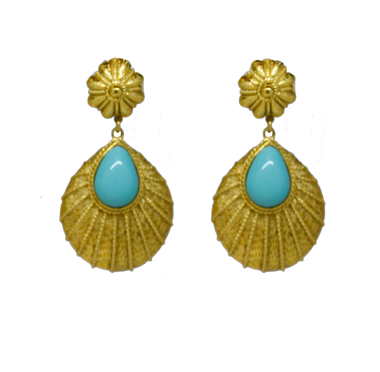 107 Textured 24 kt gold plated tear drop clip earring with turquoise stone