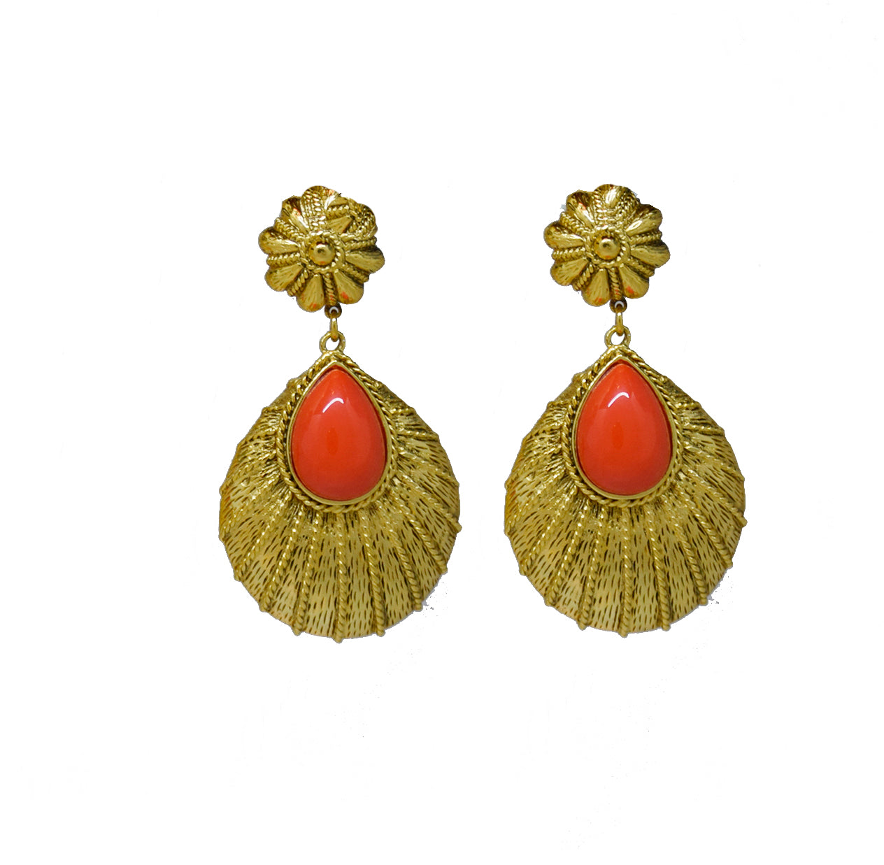 109 Textured 24 kt gold plated tear drop clip earring with coral stone