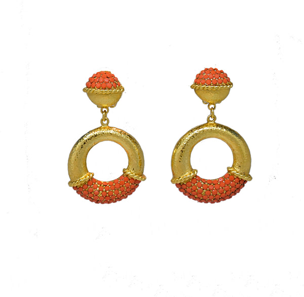 110 Hammered 24 kt gold plated hoop clip earring with coral pave stones