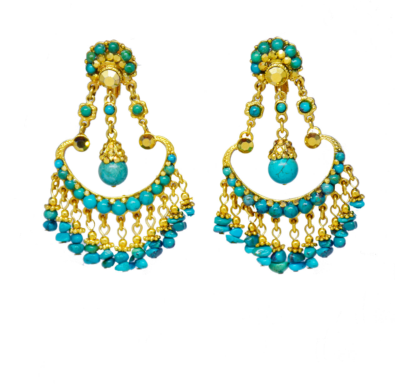 112 Gold chandelier clip earring with turquoise bead drops
