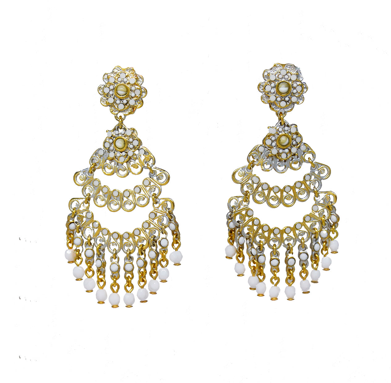115  Gold filigree chandelier clip earring with white drops