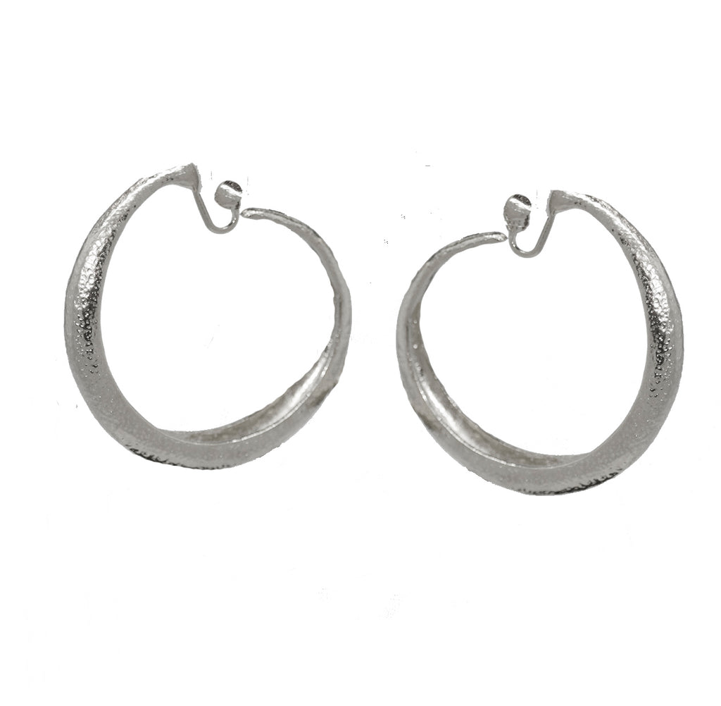 122  Silver hammered large hoop clip earring