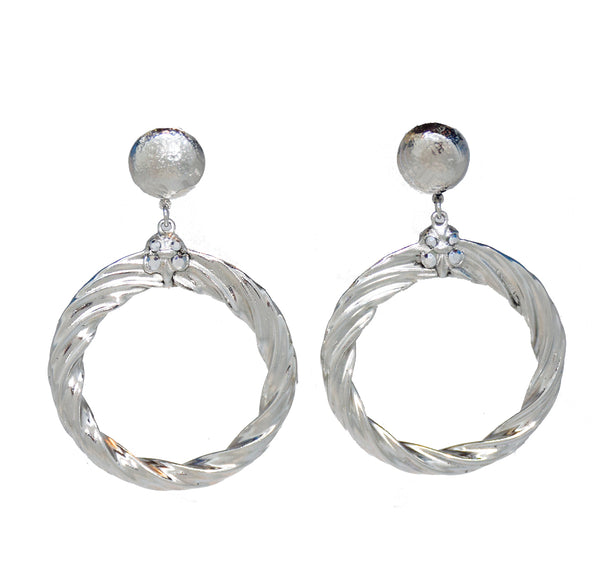 126  Silver hammered textured swirl drop hoop clip earring