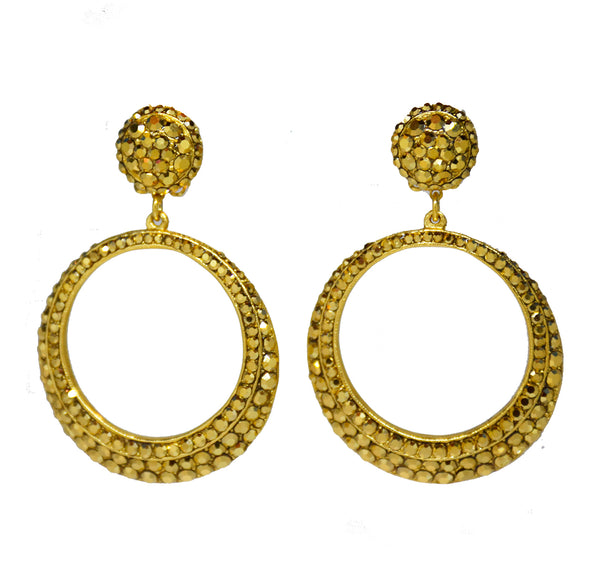 128  Gold pave drop hoop clip earring