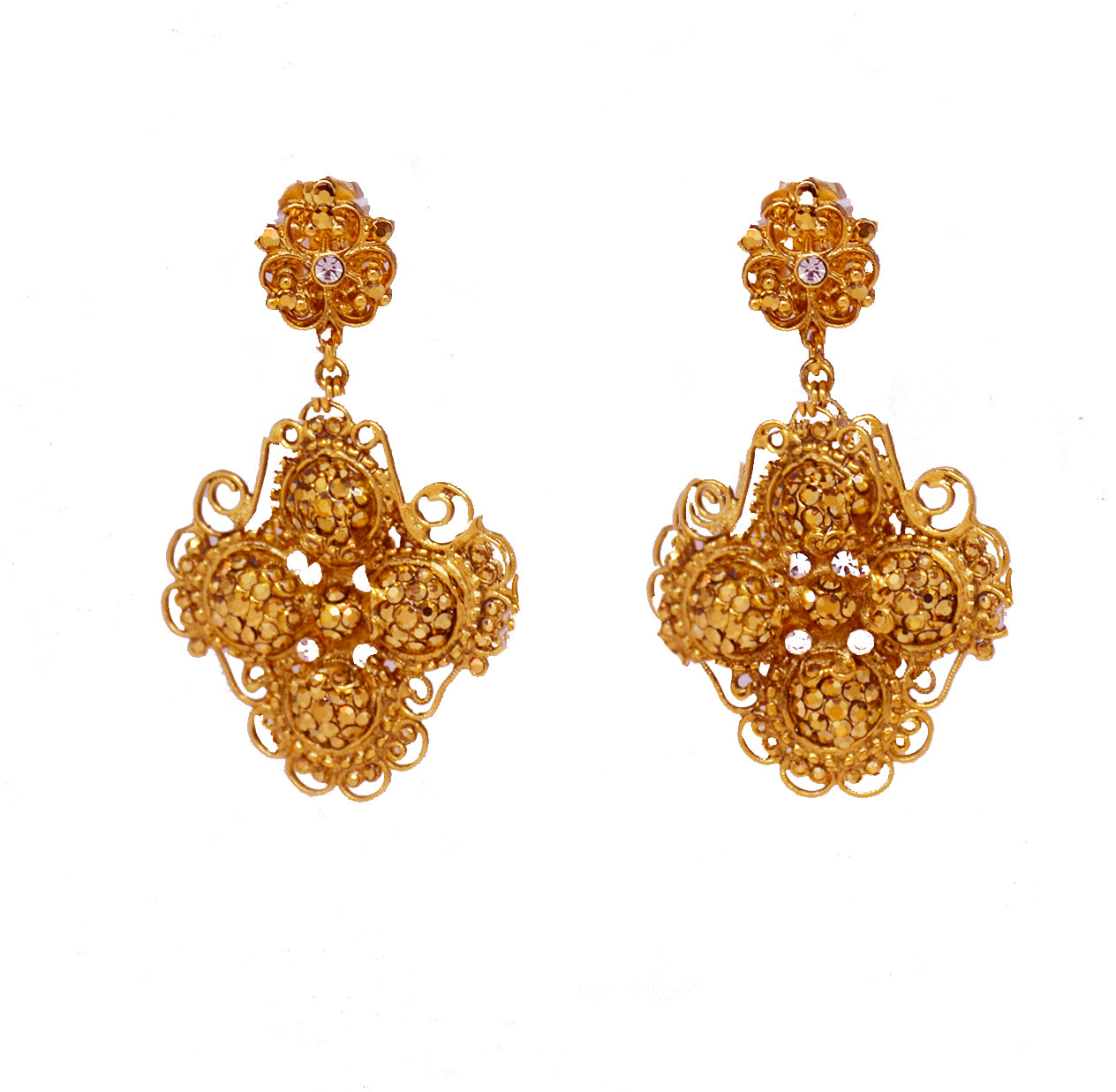 131  Gold filigree cross drop clip earring with crystal stones