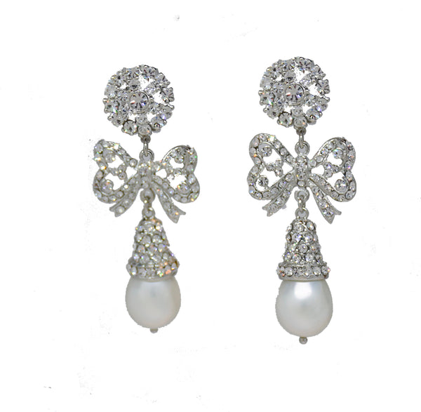 134  Silver and crystal pearl bow drop earring