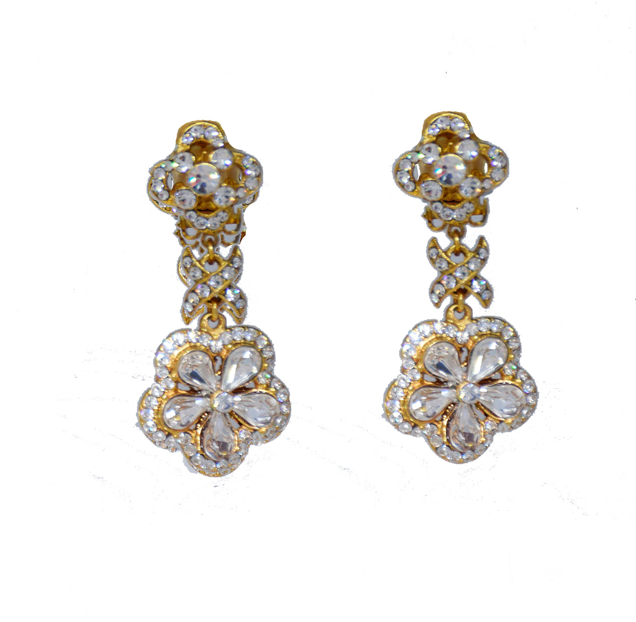 137  Gold and crystal small flower drop earring