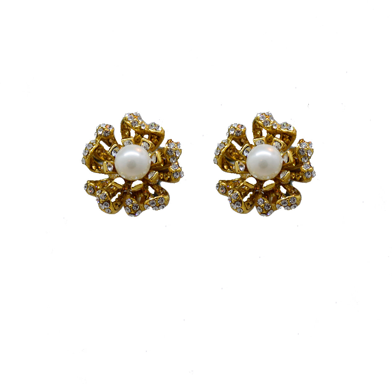 139 Gold and crystal flower clip earring