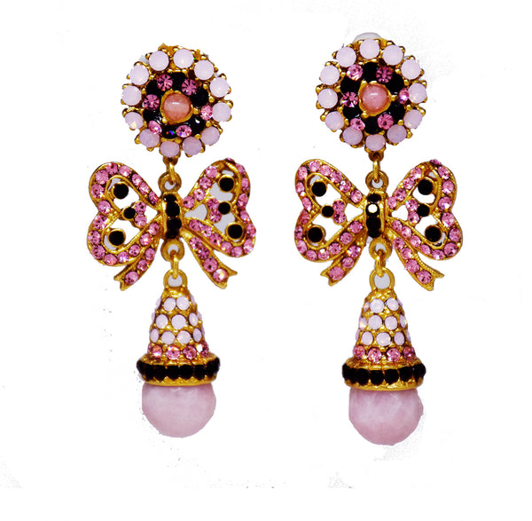 140 Gold pink and jet bow drop earring