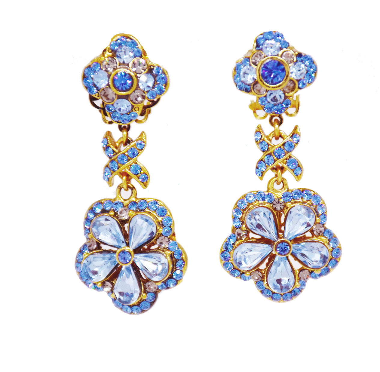 145   Gold and blue small drop earring