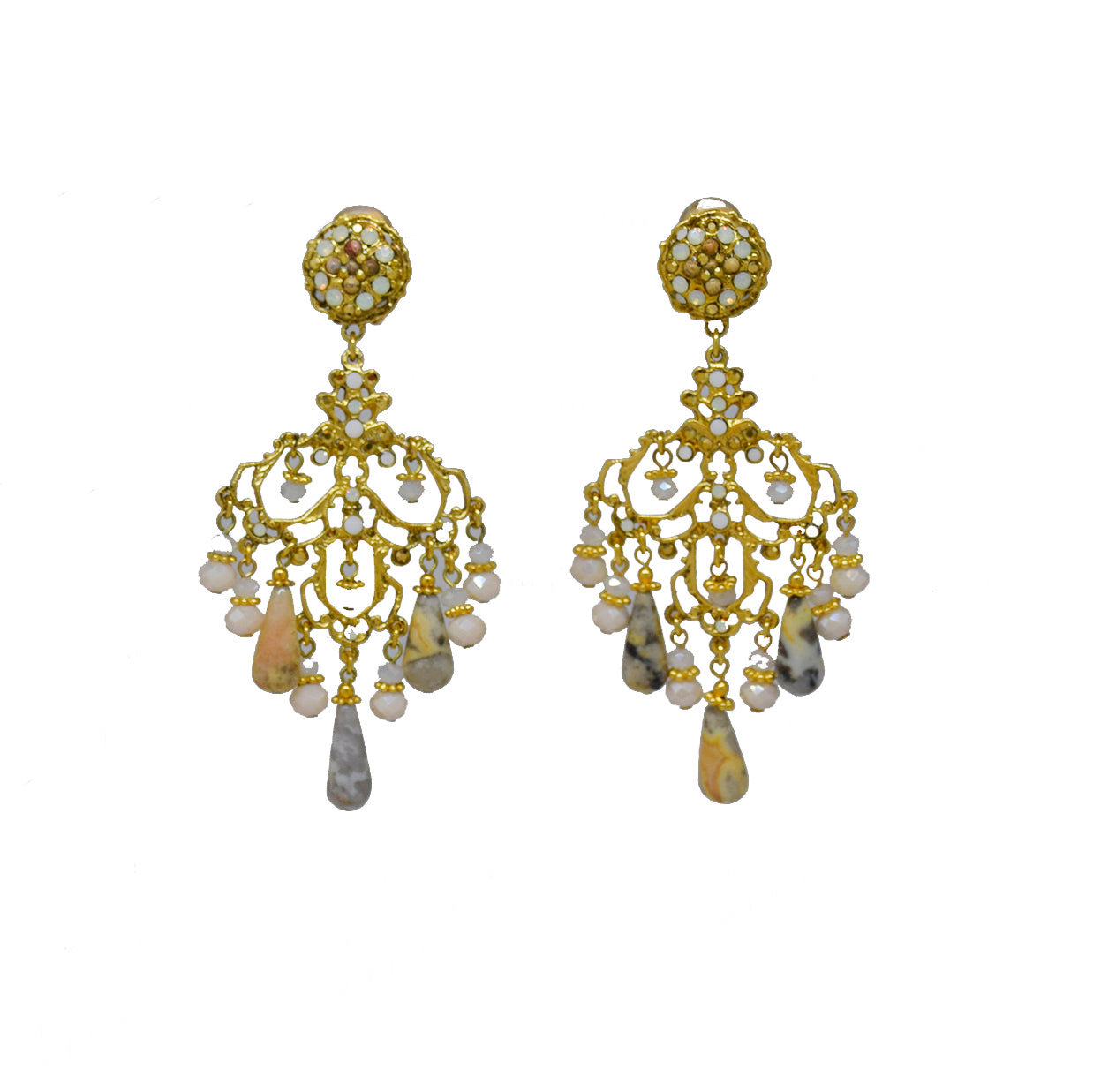 146  Gold and beige agate chandelier earring