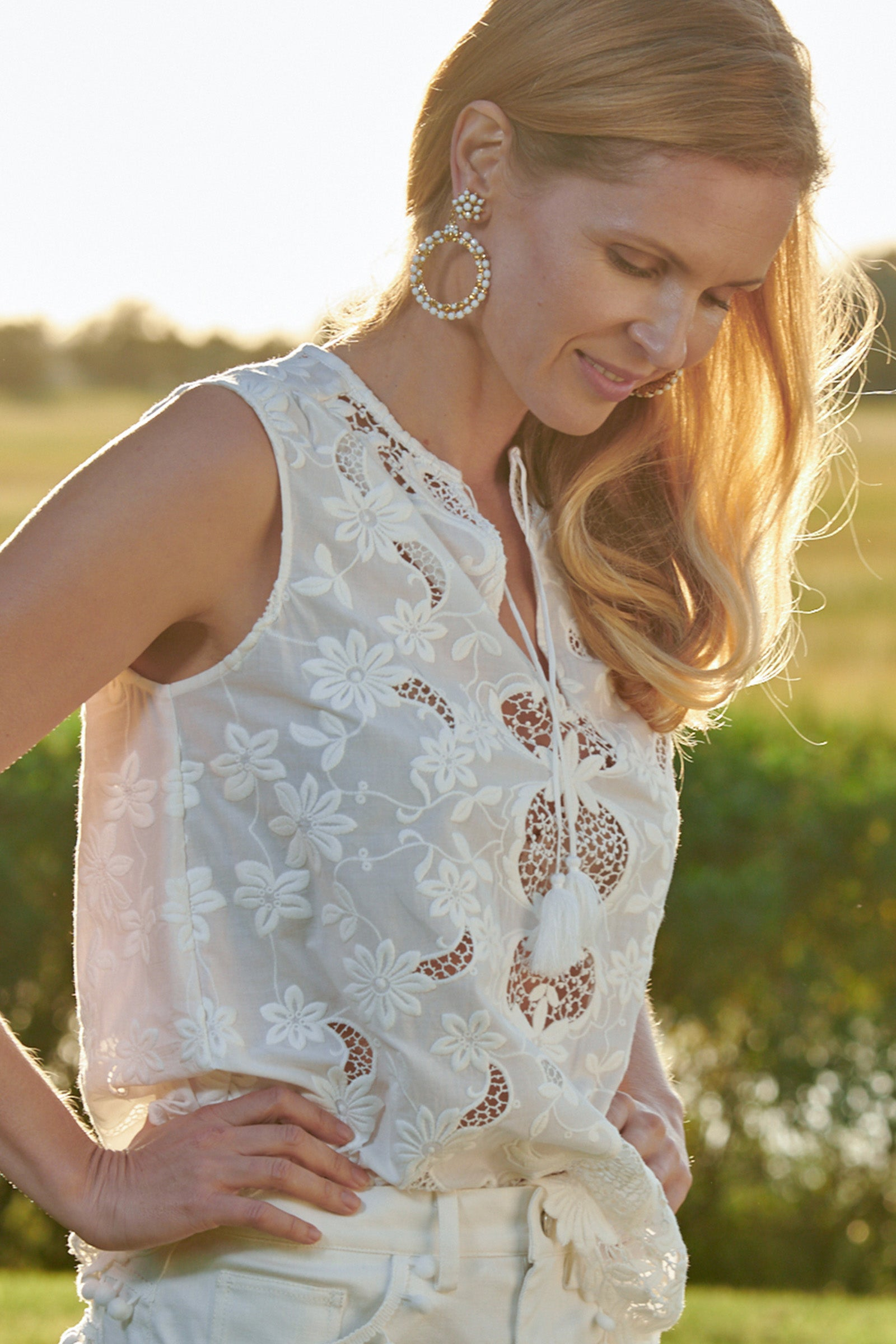 Tessa Embroidered Lace Top