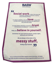 BASW social work tea towel