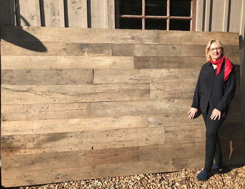 Alisanne Frew with reclaimed 18th century French oak