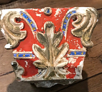 Frescoed Plaster Pedestal in Blue and Red