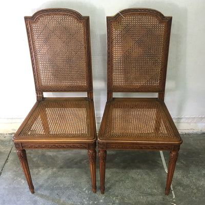 Antique French Cane Chairs with Matching Splat, Pair