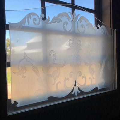 Antique French Paris Engraved Bistro Windows, Pair