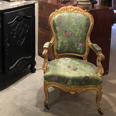 Louis XV Gilt Wood Arm Chair with Green Silk