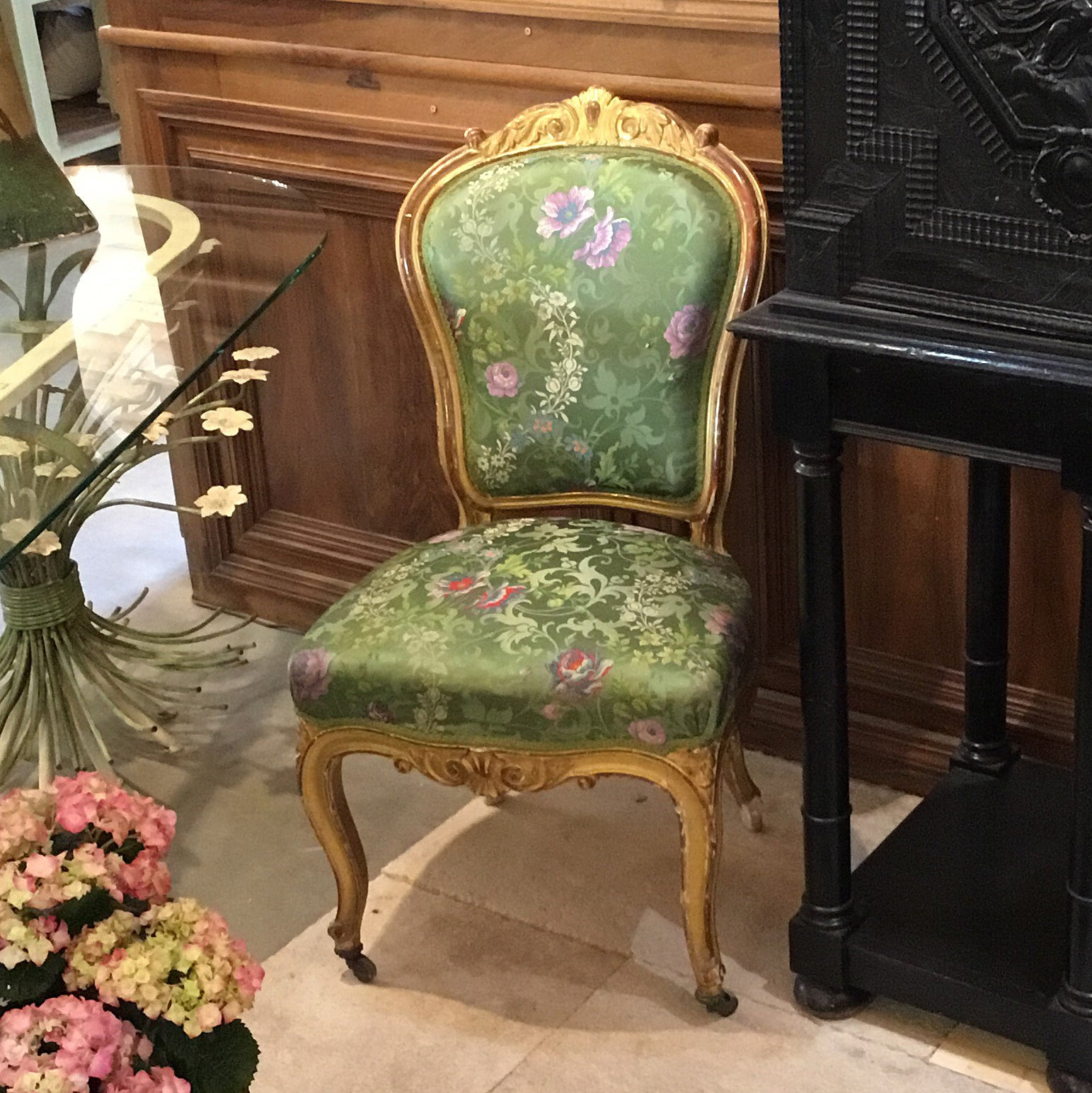 Louis XV Gilt Wood Chair with Green Silk