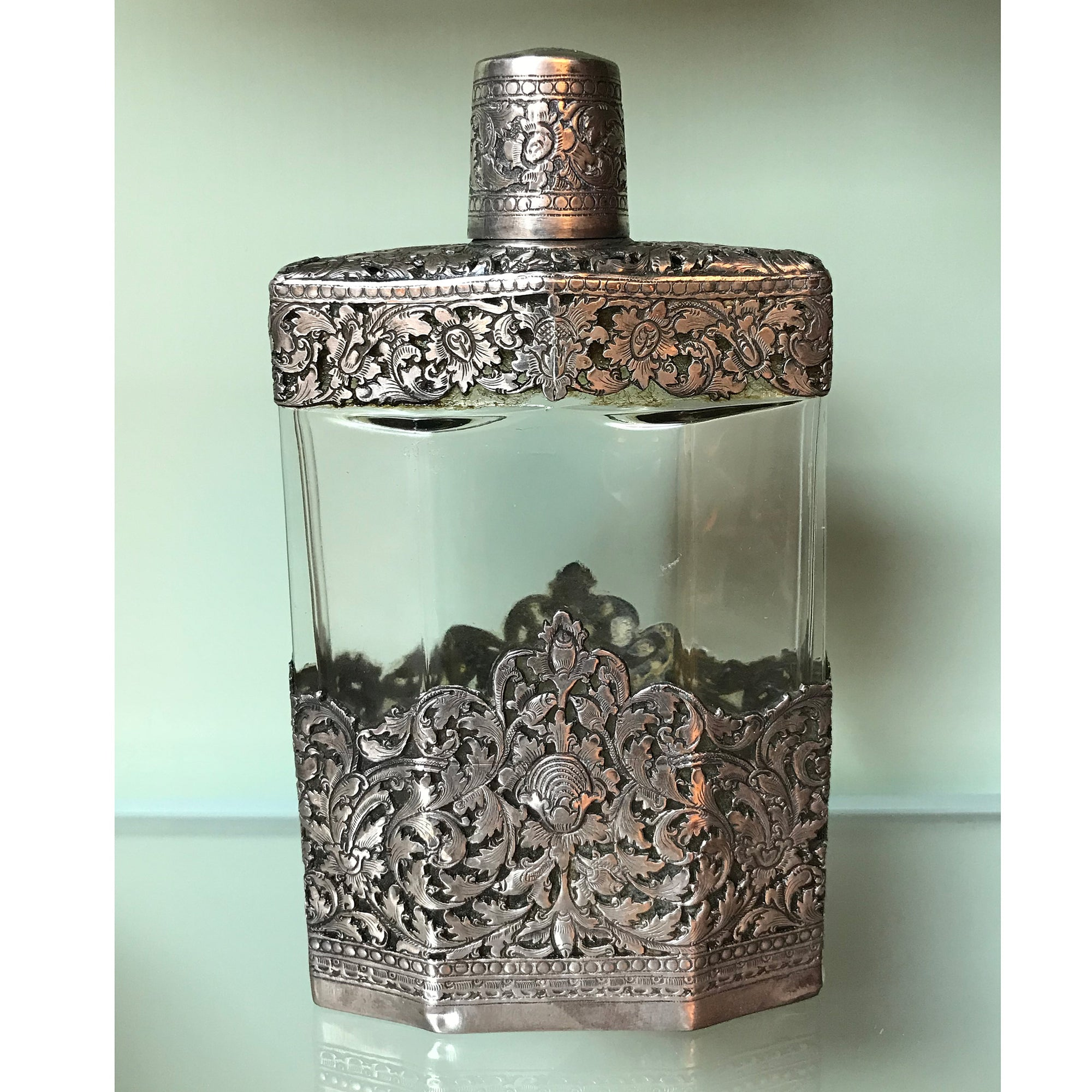Silver and Crystal Flask