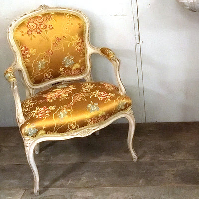 Yellow Silk Arm Chair
