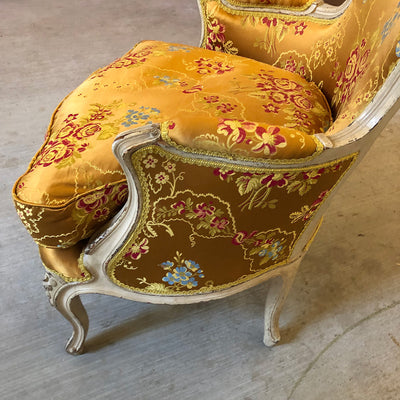 Yellow Silk Arm Chair - Bergère