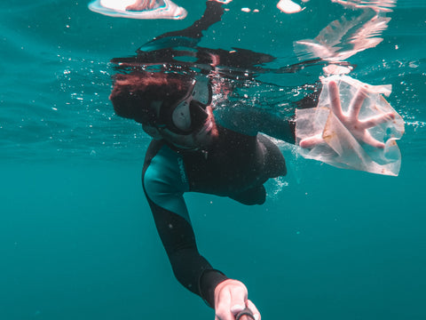 Diver in ocean with plastic bag; Cristian Palmer @ Unsplash