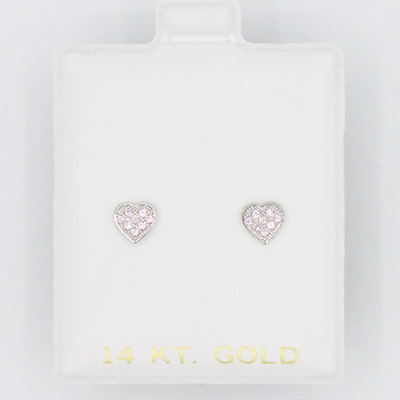 Pink White Gold Heart Screwbacks