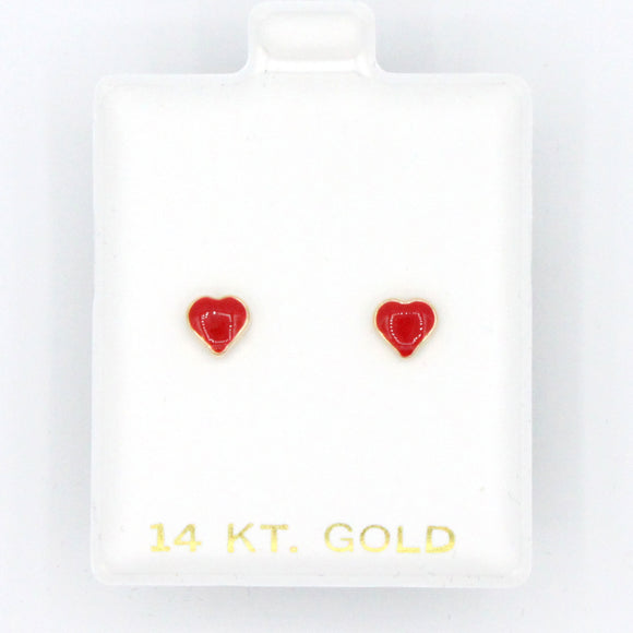 Red Enamel Heart Screwbacks
