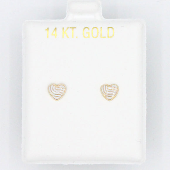 White Wave Enamel Heart Screwbacks