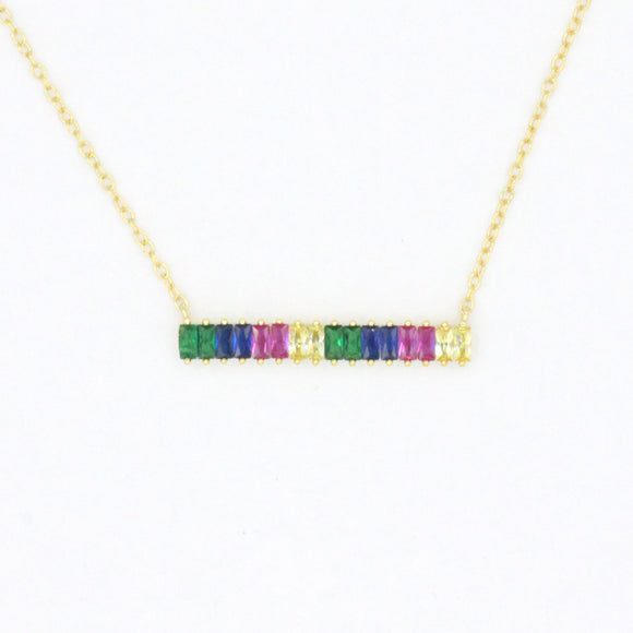 Rainbow Sterling Bar Baguette Necklace